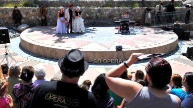 """San Diego Opera's young artists performed a 30-minute version of Rossini's """"Cinderella"""" at Santee trolley stop. Photo by Chris Stone"""