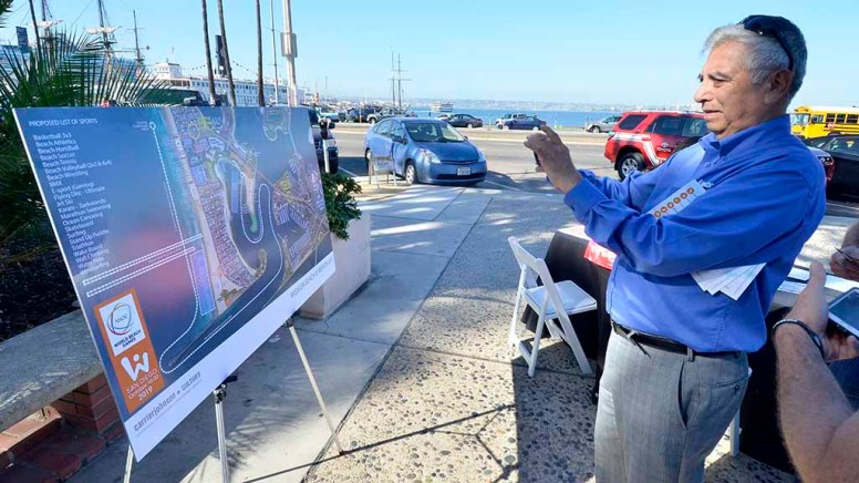 Posters showing World Beach Games venues were displayed at briefing. Photo by Ken Stone