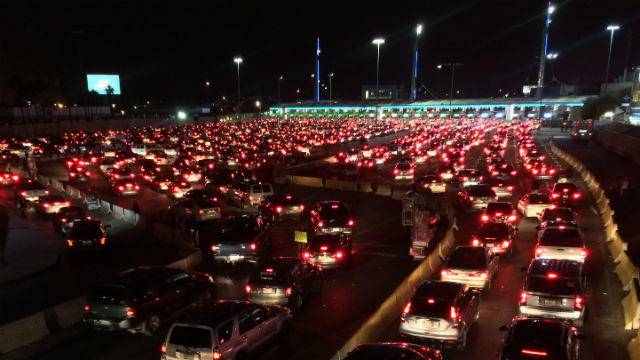San Ysidro border crossing at night