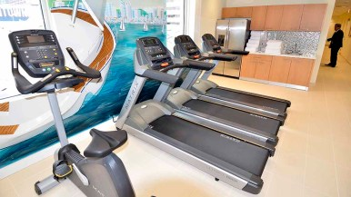 Treadmills await users in the Purification area, where members can also use two saunas. Photo by Ken Stone