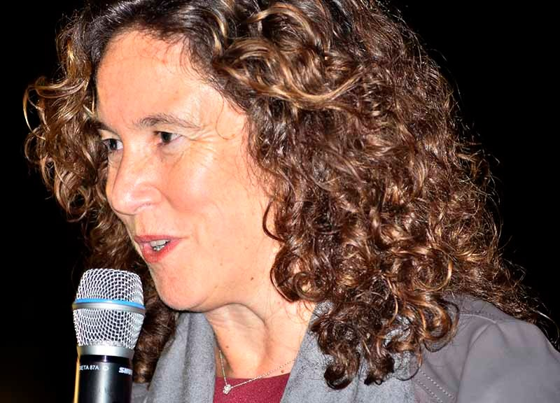 "San Diego schools Superintendent Cindy Marten speaks at the ""Celebration of Light"" event."