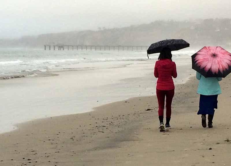 Light rain on La Jolla Shores beach