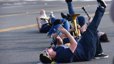 UCSD band members get creative in front of the judges in the the annual Martin Luther King Parade. Photo by Chris Stone