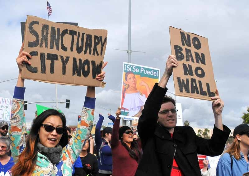 a pro-immigration march