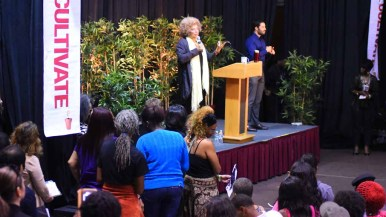 Audience members line up to ask Angela Davis questions after her talk. Photo by Chris Stone