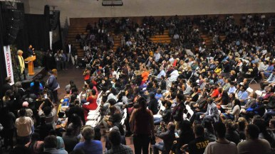 Some 1,900 people almost filled the gymnasium at Southwestern College to hear Angela Davis. Photo by Chris Stone