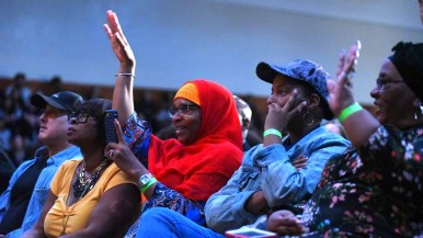 Audience members respond to Angela Davis during a speech at Southwestern College. Photo by Chris Stone