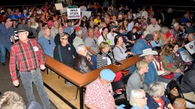 Cowboy hats and jeans were typical for the Ramona portion of the Town Hall crowd. Photo by Ken Stone