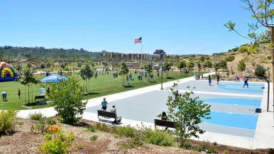 Civita Park features a splash pad, basketball courts, amphitheater, picnic areas and plaza services for Mission Valley residents. Photo by Chris Stone