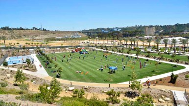 Area residents attended the opening day for the 14.3-acre Civita Park in Mission Valley. Photo by Chris Stone