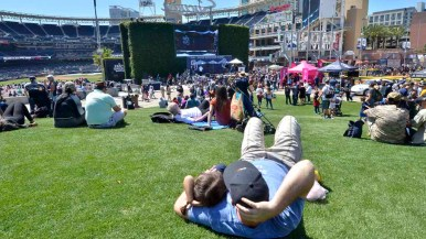 Fans relaxed in the grass at the Park at the Park at FanFest. Photo by Chris Stone