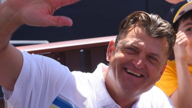 Former Padres relief pitcher Trevor Hoffman waves at fans. Photo by Chris Stone