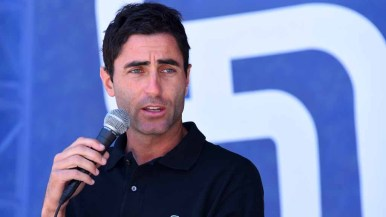 Padres general manager A. J. Preller talks to fans about the upcoming season. Photo by Chris Stone