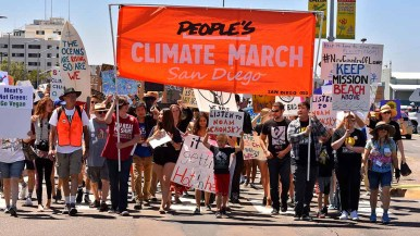 Lead marchers People's Climate March San Diego near finish at Waterfront Park. Photo by Ken Stone