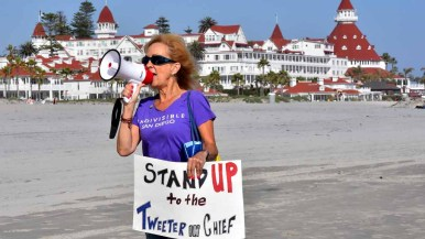 Indivisible San Diego led the protest by the Hotel del Coronado where the RNC is holding its spring meeting. Photo by Chris Stone