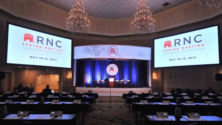 Hotel del Coronado's ballroom was setting for RNC Rules Committee meeting — the only session open to the media. Photo by Ken Stone