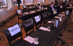 CNN politics reporter Eric Bradner of Washington was among the few media members attending the RNC Rules Committee meeting at the Hotel Del. Photo by Ken Stone