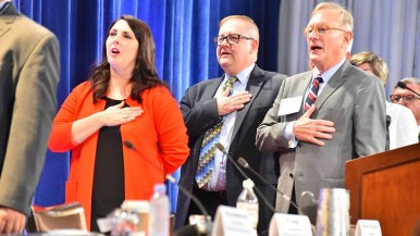 Michigan's Ronna McDaniel, elected RNC chairwoman in January, joins in Pledge of Allegiance at Hotel del Coronado. Photo by Ken Stone