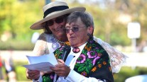 Judy Forman (left) and Shirley Ferrill portraying Susan B. Anthony talk about the woman's suffrage movement.