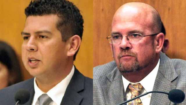 San Diego City Councilmen David Alvarez (left) and Scott Sherman.
