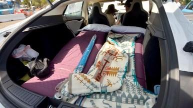 Craig Blasingame has his 2104 Tesla set up for camping.