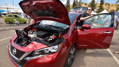 A 2018 Nissan Leaf was on display.