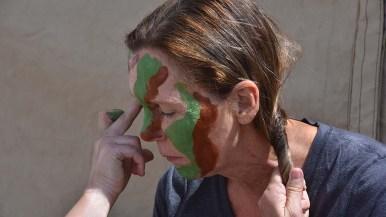Master Sgt. Marion Albrektsen had her face painted