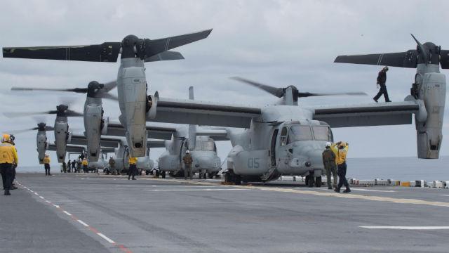 Osprey tiltrotors aboard the USS Kearsarge