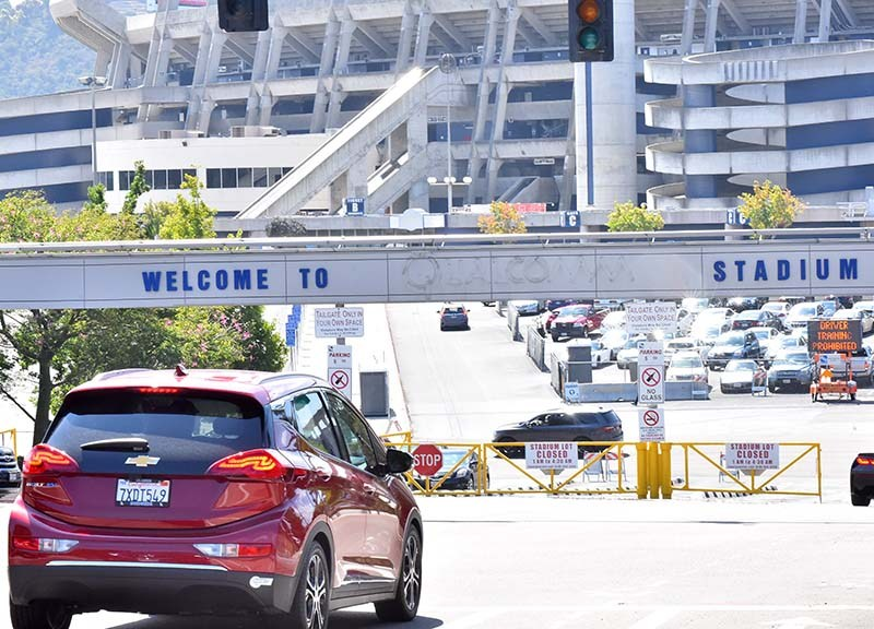 The name Qualcomm has been stripped from the Mission Valley stadium sign.