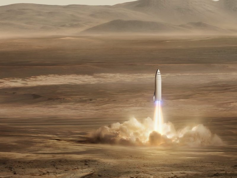SpaceX BFR rocket lands on Mars