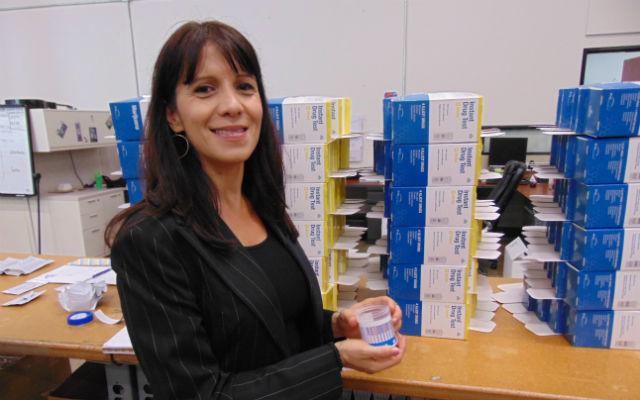 Zeynep Ilgaz with a drug test kit