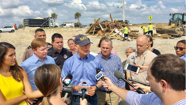 Florida Gov. Rick Scott views hurricane damage