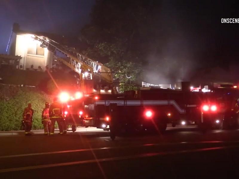 Firefighters at the blaze in Rancho Bernardo