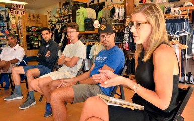 Jill Geer, chief marketing officer of USA Track & Field, took notes and shared thoughts at the Vin Lananna stop in San Diego.