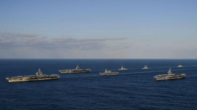 Carriers USS Ronald Reagan, USS Theodore Roosevelt and USS Nimitz