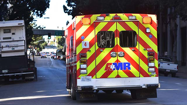 An American Medical Response ambulance
