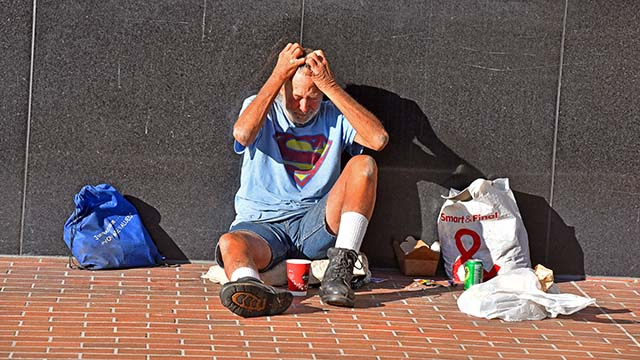 A homeless man in downtown San Diego.