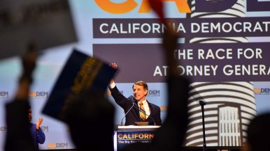 California attorney general candidate Dave Jones is cheered by his supporters