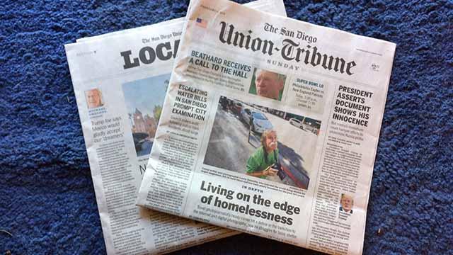 Sunday's edition of The San Diego Union-Tribune.