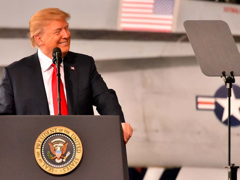 President Trump appeared to stick to his script, via Teleprompters at MCAS Miramar.