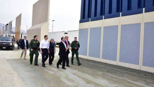 Trump tours wall prototypes
