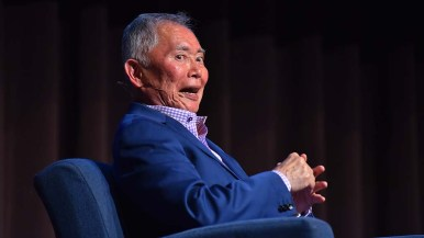 """George Takei says his signature """"Oh, my,"""" to the audience's delight."""