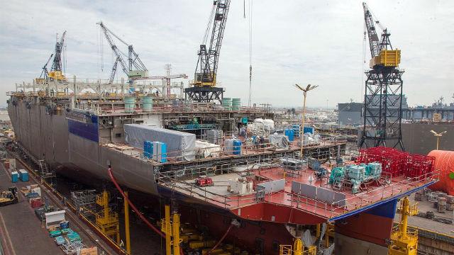 Ship under construction at NASSCO