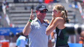 Lily Lowe of Hawaii shows emotion to proud coach Tim Boyce after clearing a personal-record 6 feet in the Mt. SAC Relays high jump.