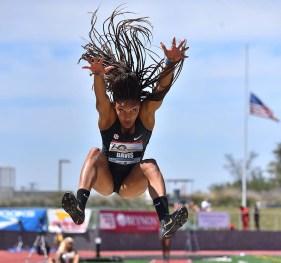 Tara Davis of Georgia reaches for landing in the invitational long jump at the Mt. SAC Relays