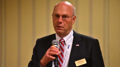 Judge Steven C. Bailey, Republican candidate for attorney general, speaks to the Log Cabin Republican's meeting.
