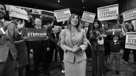District Attorney Summer Stephan is surrounded by supporters at Golden Hall.