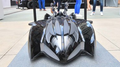 A Batmobile model is on display at the DC Universe Experience at the Hilton San Diego Gaslamp. Photo by Chris Stone