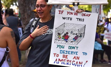 Jacque Salomon of ACLU in Phoenix get emotional as she talks about the detention of children.
