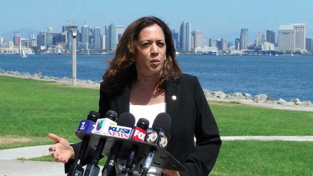 Kamala Harris answers questions from the media